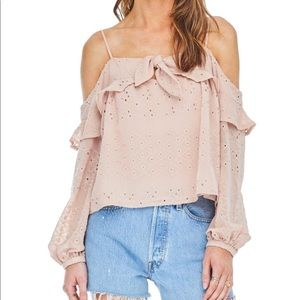 ASTR The Label pink Kimberly off the shoulder top